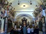 I bici nel museo dentro la Madonna del Ghisallo.  Questa chiesa e' sul percorso del Giro di Lombardia e spesso del Giro d'Italia